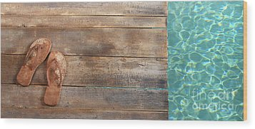 Brown Sandals On Withered Wood  Wood Print by Sandra Cunningham