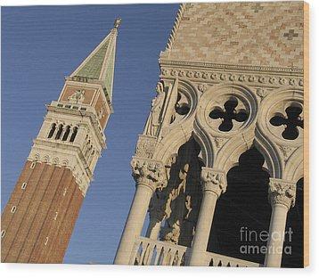 Campanile. Plazza San Marco. Venice Wood Print by Bernard Jaubert