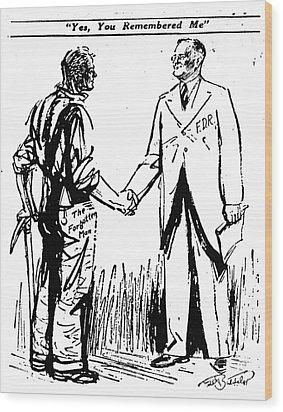 Cartoon: Fdr & Workingmen Wood Print by Granger