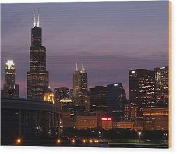 Chicago With A Purple Sky Wood Print by Dan Susek