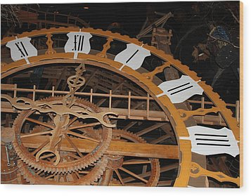 Clock Work Wood Print by Mike Stouffer