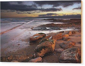 Coastline At Twilight Wood Print by Carlos Caetano