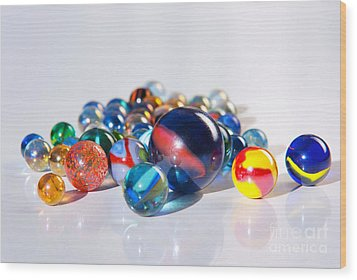 Colorful Marbles Wood Print by Carlos Caetano