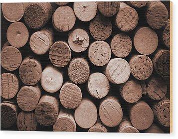 Cork Wine Wood Print by Isabel Poulin
