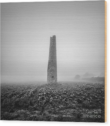Cornish Mine Chimney Wood Print by John Farnan