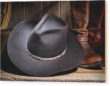 Cowboy Hat Wood Print by Olivier Le Queinec