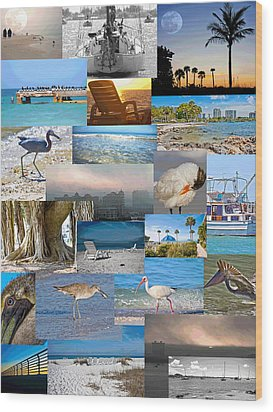 Florida Collage Wood Print by Betsy Knapp