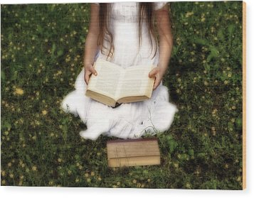 Girl Is Reading A Book Wood Print by Joana Kruse