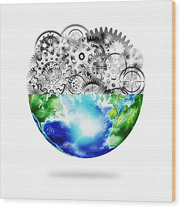 Globe With Cogs And Gears Wood Print by Setsiri Silapasuwanchai