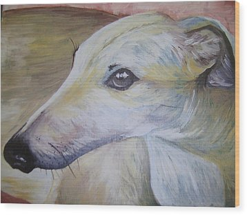 Greyhound Wood Print by Leslie Manley