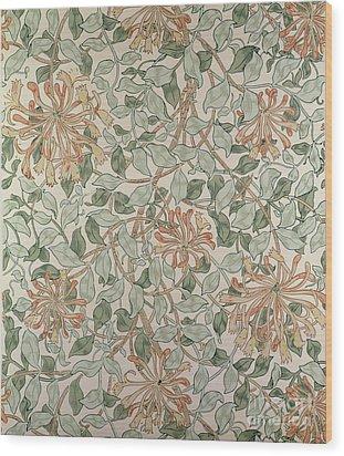 Honeysuckle Design Wood Print by William Morris