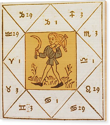 Horoscope Types, Engel, 1488 Wood Print by Science Source