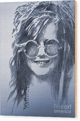 Janis Joplin Wood Print by Robbi  Musser