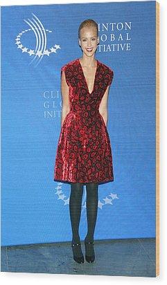 Jessica Alba Wearing A Prada Dress Wood Print by Everett
