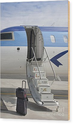 Luggage Near Airplane Steps Wood Print by Jaak Nilson