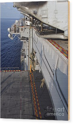 Marines And Sailors Fast-rope Wood Print by Stocktrek Images