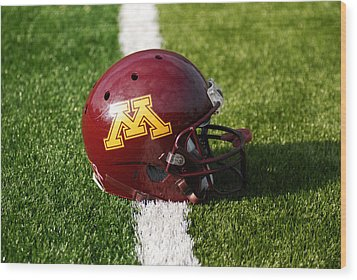 Minnesota Football Helmet Wood Print by Bill Krogmeier
