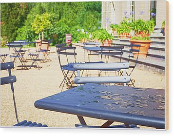 Outdoor Cafe Wood Print by Tom Gowanlock