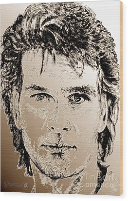 Patrick Swayze In 1989 Wood Print by J McCombie