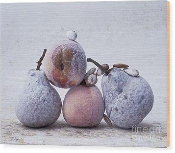 Pears And Apples Wood Print by Bernard Jaubert