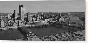 Pittsburgh In Black And White Wood Print by Michelle Joseph-Long
