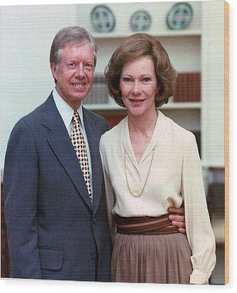 President Jimmy Carter And Rosalynn Wood Print by Everett