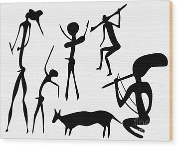 Primitive Art - Various Figures Wood Print by Michal Boubin