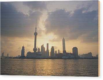 Pudong Skyline, Seen Wood Print by Justin Guariglia