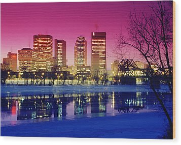 Red River And Downtown Winnipeg Wood Print by Dave Reede
