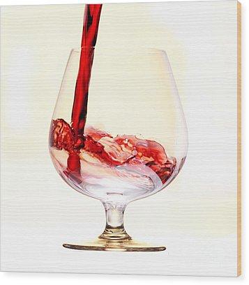 Red Wine Wood Print by Michal Boubin