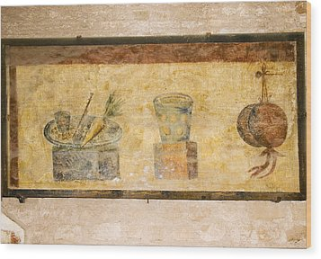 Roman Fresco, Ostia Antica Wood Print by Sheila Terry