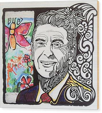 Ronald Reagan - Berlin Wall Wood Print by Ben Gormley