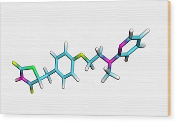 Rosiglitazone Diabetes Drug Molecule Wood Print by Dr Tim Evans