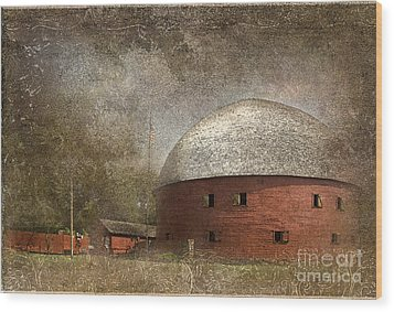 Route 66 Round Barn Wood Print by Betty LaRue