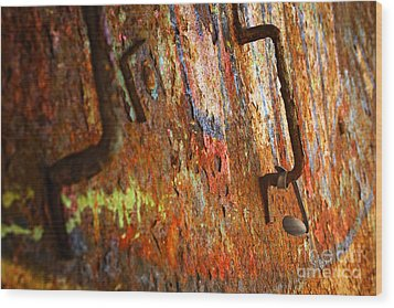 Rust Background Wood Print by Carlos Caetano