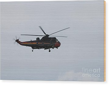 Sea King Helicopter Of The Belgian Army Wood Print by Luc De Jaeger