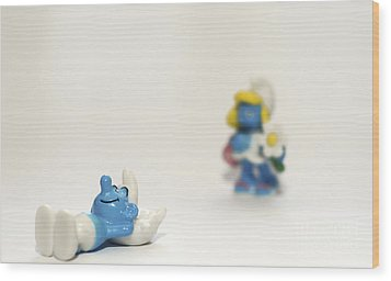 Smurf Figurines Wood Print by Amir Paz