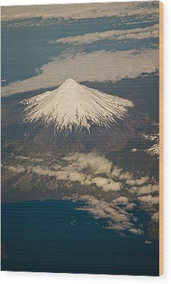 Snowcovered Volcano Andes Chile Wood Print by Colin Monteath