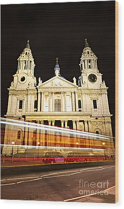 St. Paul's Cathedral In London At Night Wood Print by Elena Elisseeva