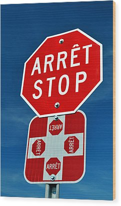 Stop Sign. Wood Print by Fernando Barozza