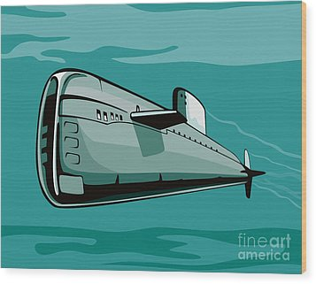Submarine Boat Retro Wood Print by Aloysius Patrimonio