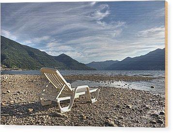 Sun Chair On Lake Maggiore Wood Print by Joana Kruse