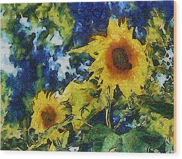 Sunflowers Wood Print by Michelle Calkins