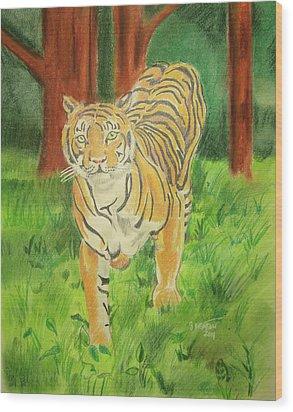 Tiger On The Prowl Wood Print by John Keaton