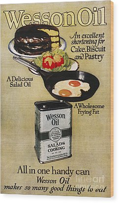 Vegetable Oil Ad, 1918 Wood Print by Granger