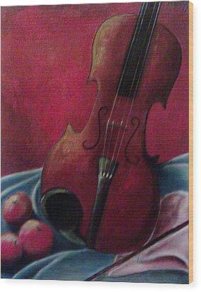 Violin With Apples Wood Print by Melissa Cruz
