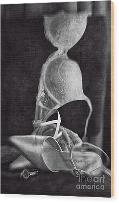Wedding Shoes And Under Garments On Chair Wood Print by Sandra Cunningham
