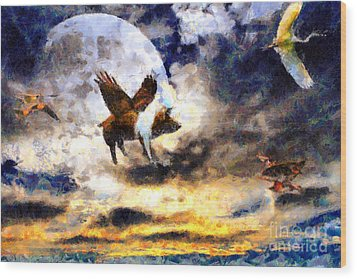 When Pigs Fly Wood Print by Wingsdomain Art and Photography