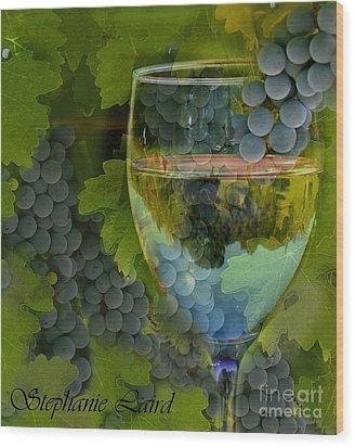 Wine Glass Wood Print by Stephanie Laird