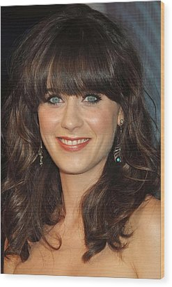 Zooey Deschanel At Arrivals For The Wood Print by Everett